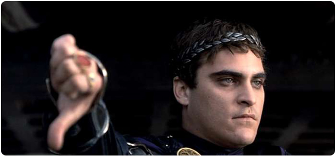 Joaquin Phoenix commodus gladiator thumbs down